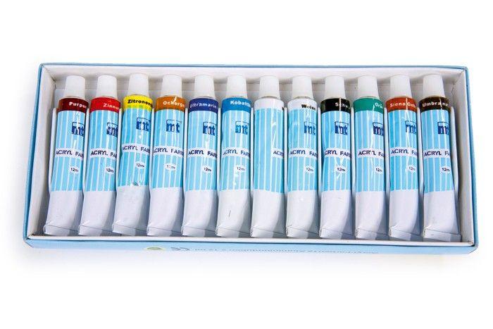 Akrylové barvy - 12 ks