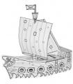 Pirátská loď předkreslená - lepenkový model 50 cm