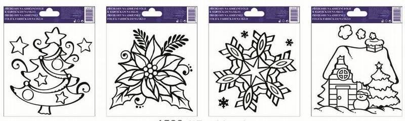 Předlohy k barvičkám na sklo Vánoční mix II (sada 4 ks)