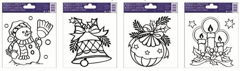 Předlohy k barvičkám na sklo Vánoční mix I (sada 4 ks)