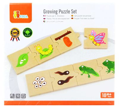 Dřevěné puzzle vývojové (vývoj žáby, motýla...) - montessori
