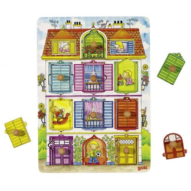GOKI, Dřevěné puzzle se skrytými obrázky - Domeček