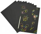 Prázdné škrabací papíry - duhové, A4 - 10 ks