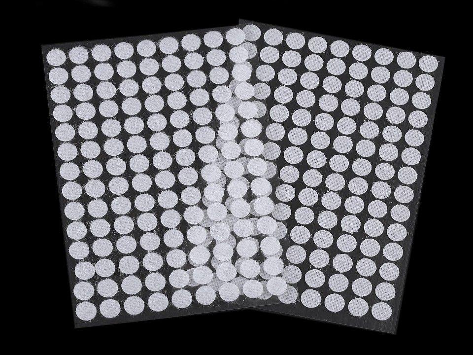 Suchý zip samolepící kolečka plyš+háčky 1cm - 126 ks