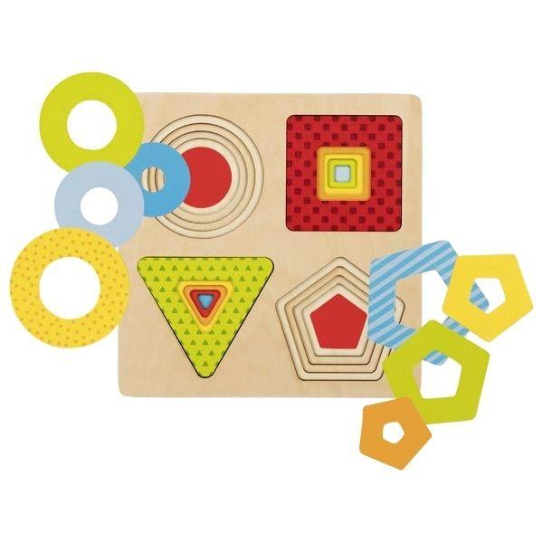 Vícevrstvé puzzle geometrické TVARY GOKI