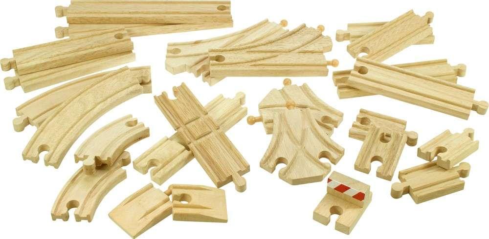 BigJigs Sada kolejniček dřevěné vláčky - set koleje 25 dílů