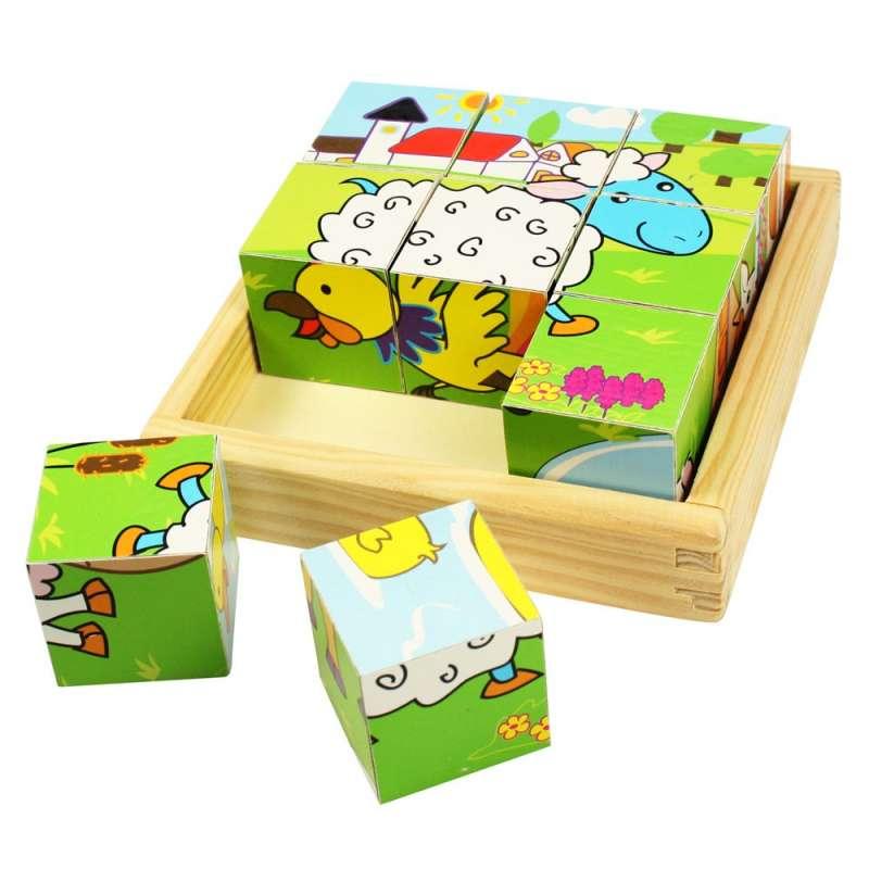 Dřevěné kostky - zvířátka FARMA BIGJIGS