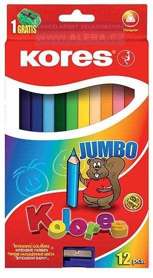 Trojhranné pastelky JUMBO s ořezávátkem Kores
