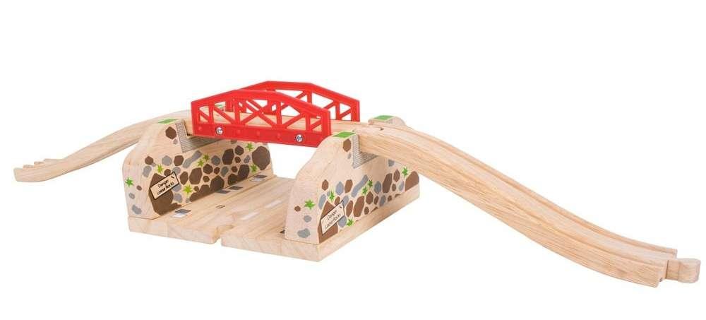 BigJigs Dřevěná autodráha, vláčkodráha - MOST