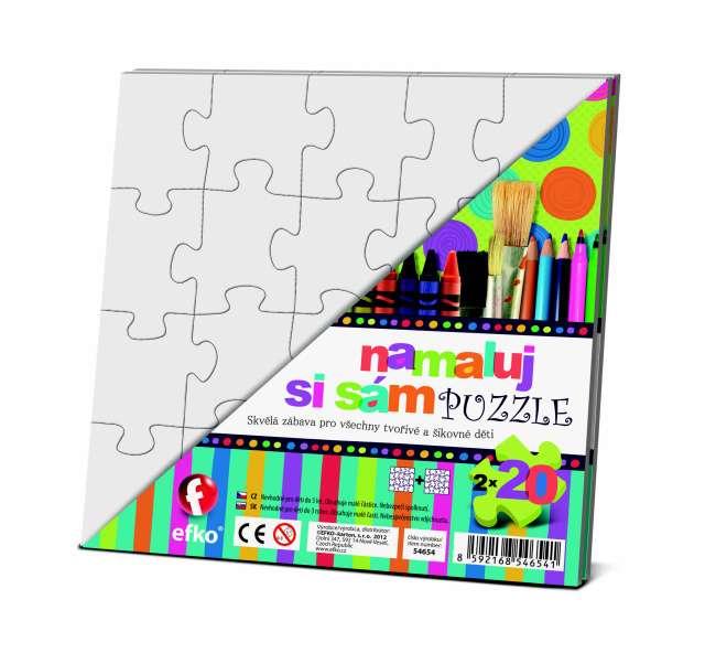 Vymaluj si vlastní puzzle - 2 x ČTVEREČEK Efko