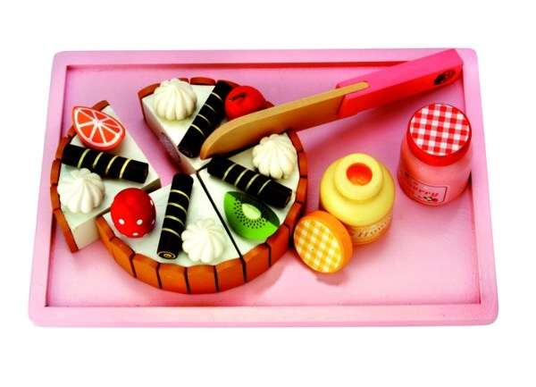 BINO Dřevěný krájecí dort - sada na tácku