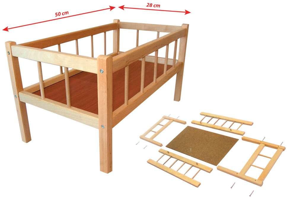 Dřevěná postýlka pro panenky 50 cm
