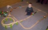 Dřevěné vláčky - inspirace Sestava pro ty, co rádi sedí uvnitř se serpentýnou...