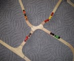 Dřevěné vláčky - inspirace Výhybka-spojka ovál a T spojka od paní Lenky