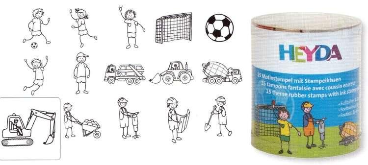 HEYDA Dřevěná tiskátka - Stavba, fotbal (15 ks)