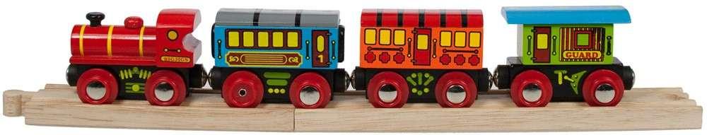 BigJigs Osobní vlak + 3 koleje - dřevěná vláčkodráha