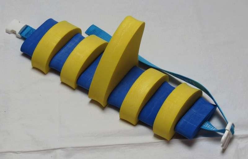 PLAVECKÝ PÁS S PLOUTVÍ (11 dílků) - žluto-modrý Aronet