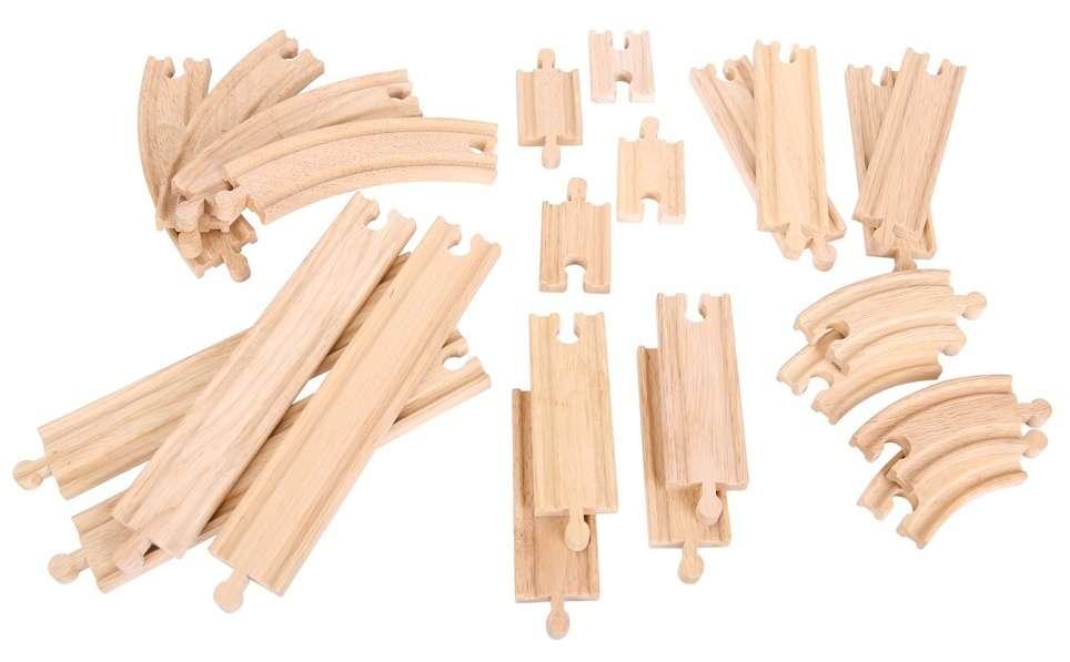 BigJigs Sada kolejí dřevěné vláčky - 24 dílů