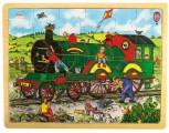 Velké dřevěné puzzle na desce - Vlak
