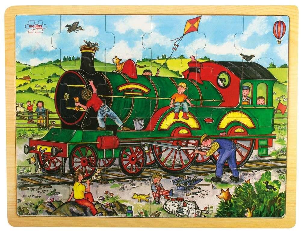 BigJigs, Velké dřevěné puzzle na desce - Vlak, 24 dílků