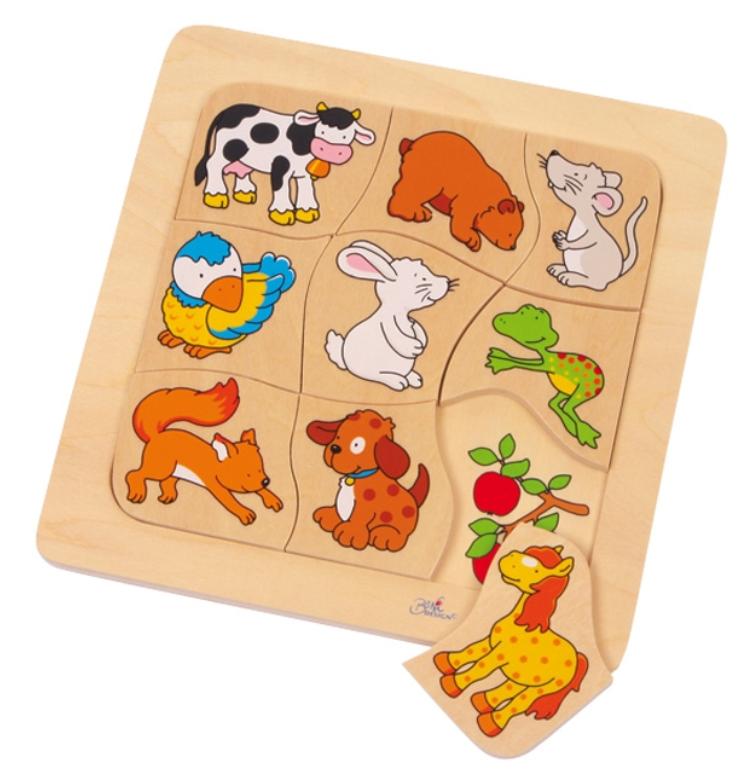 Didaktická dřevěná skládačka - Zvířátka a jejich potrava GOKI
