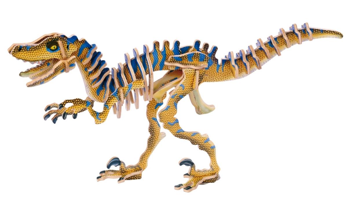 Dřevěné 3D puzzle - dinosaurus Velociraptor Legler