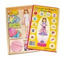 Dřevěné magnetky oblékání - holčička Magda