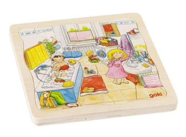 GOKI, Dřevěné puzzle 4 vrstvy - MŮJ DEN