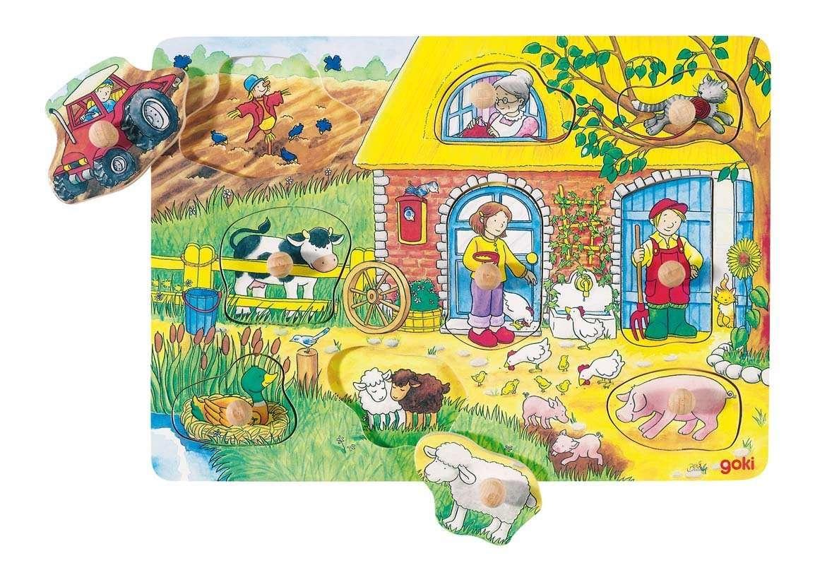 GOKI, Dřevěné puzzle se skrytými obrázky - Farma