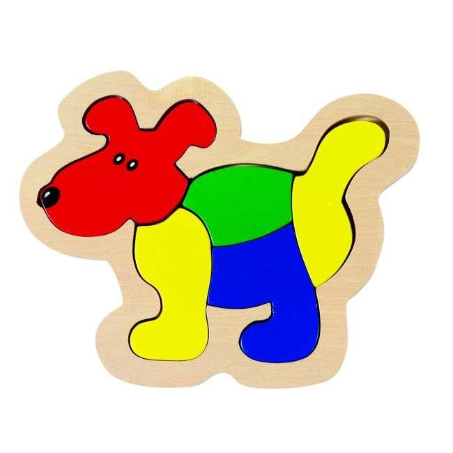 GOKI, Dřevěné puzzle, vkládačka pro nejmenší - PEJSEK
