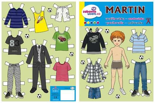 Vystřihovánka, omalovánka oblékání kluk - Martin