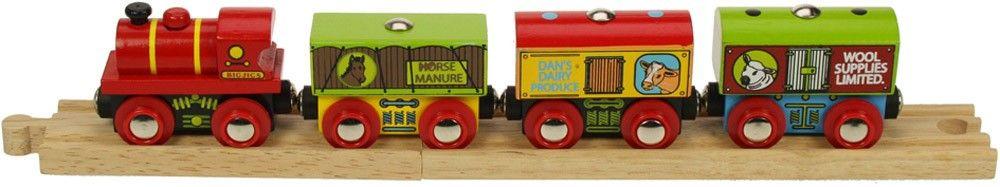BigJigs Farmářský vlak - dřevěné vláčky
