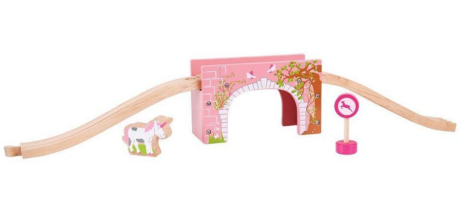 BigJigs Růžový most, dřevěné vláčky