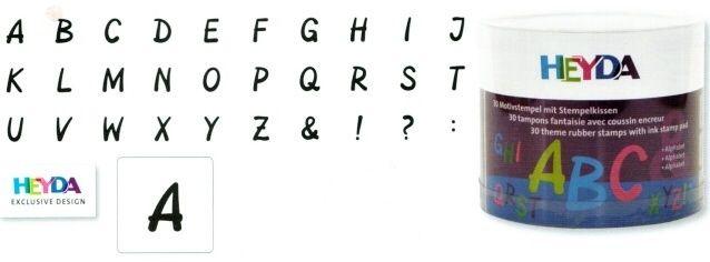 HEYDA Dřevěná razítka - Písmena, abeceda (30 ks)