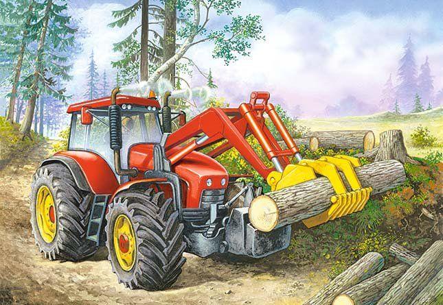 Puzzle 60 dílků - Traktor nakladač Castor