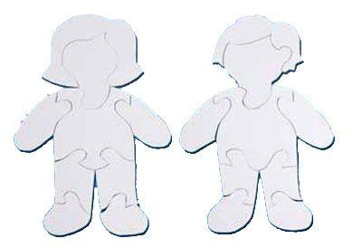 Puzzle k vybarvení 2 ks - holka + kluk