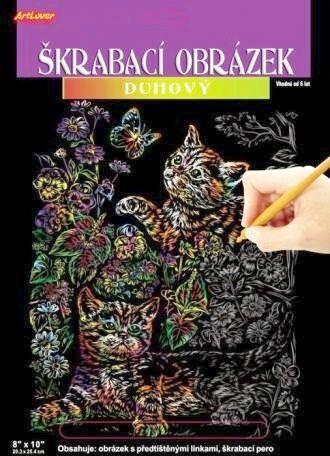 Škrabací obrázek duhový velký - Kočičky