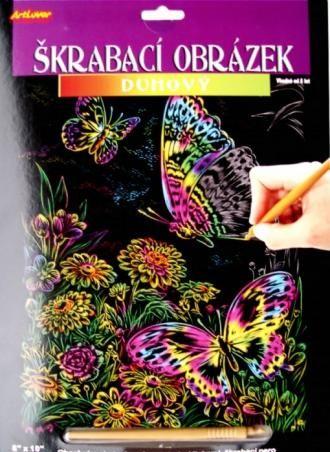 Škrabací obrázek duhový velký - Motýlci a květiny