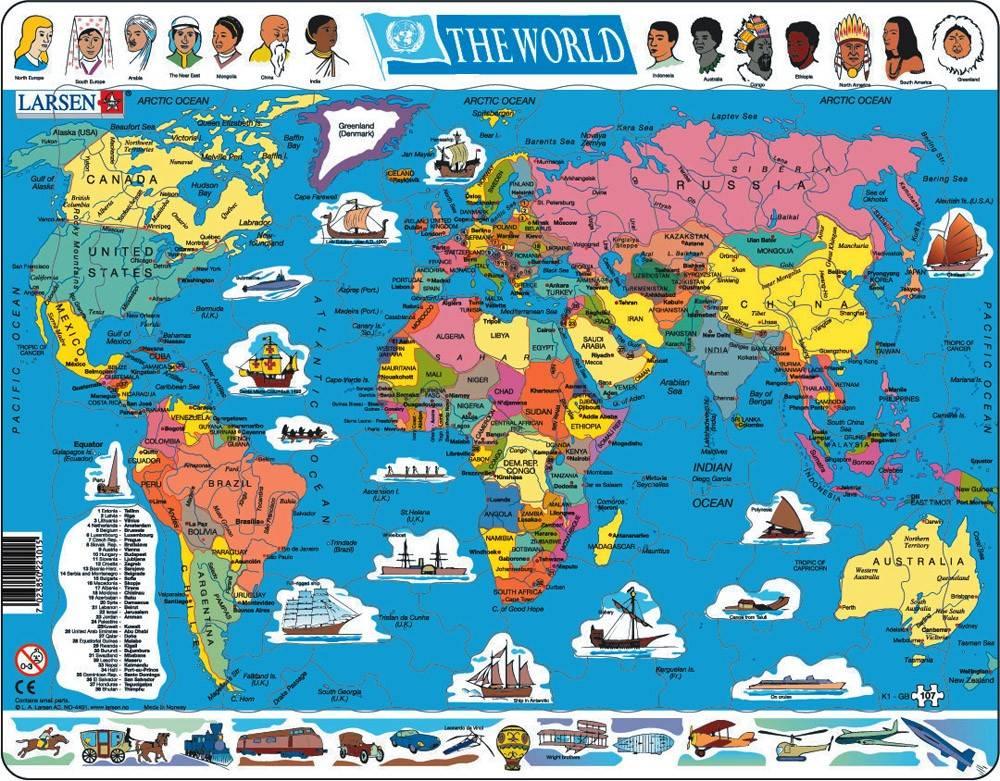 puzzle MAPA SVĚTA (politická) - v angličtině Larsen
