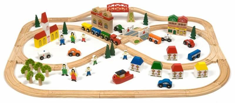 BigJigs Velká dřevěná vláčkodráha město a vesnice, 101 dílů