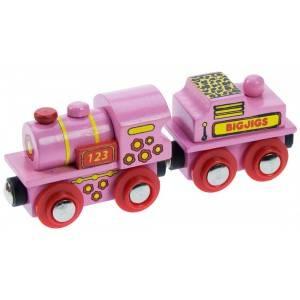 BigJigs Růžová mašinka - dřevěné vláčky