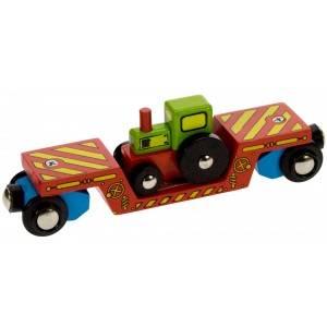 BigJigs Vagon s traktorem - dřevěné vláčky