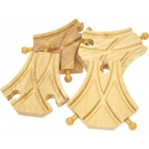 BigJigs Symetrické výhybky 4 ks - dřevěné koleje