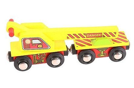 BigJigs, Nákladní vagon s jeřábem - dřevěný vláček BIGJIGS