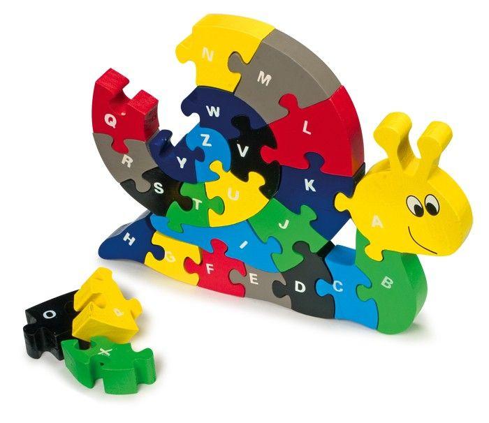 Dřevěné puzzle abeceda - Šnek Legler