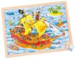 Dřevěné puzzle - Pirátská loď, 96 dílků (40 cm)