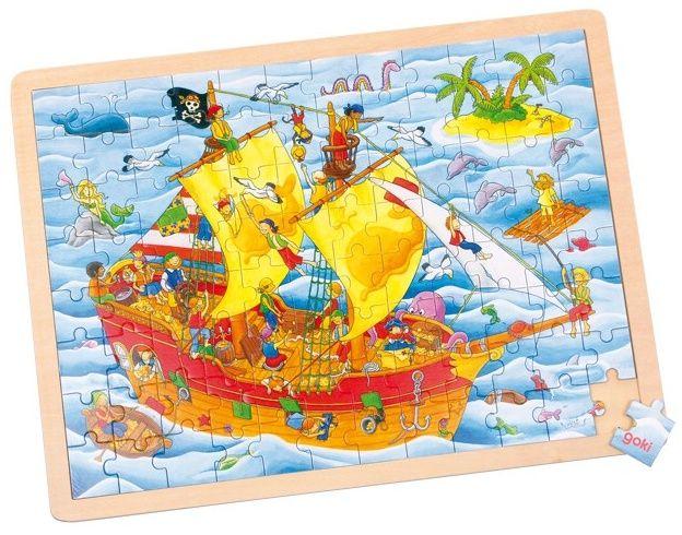 Dřevěné puzzle - Pirátská loď, 96 dílků (40 cm) GOKI