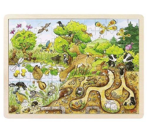 Dřevěné puzzle PŘÍRODA, 96 dílků 40 cm GOKI
