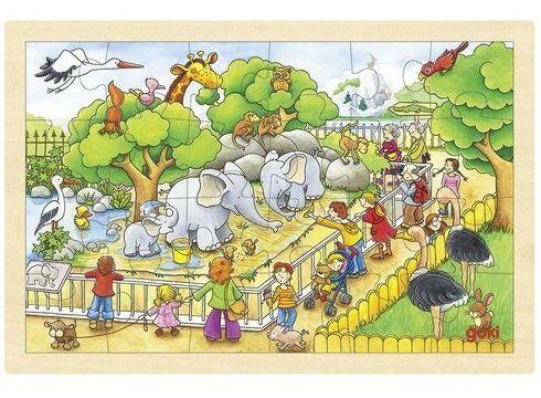 GOKI, Dřevěné puzzle - ZOO, 24 dílků