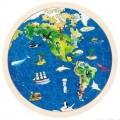 GOKI, kulaté dřevěné oboustranné puzzle - MAPA SVĚTA (Zeměkoule)